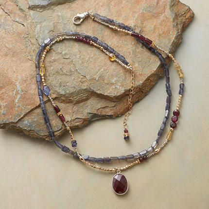 THREE OF A KIND NECKLACE - iolite, garnets, and citrine