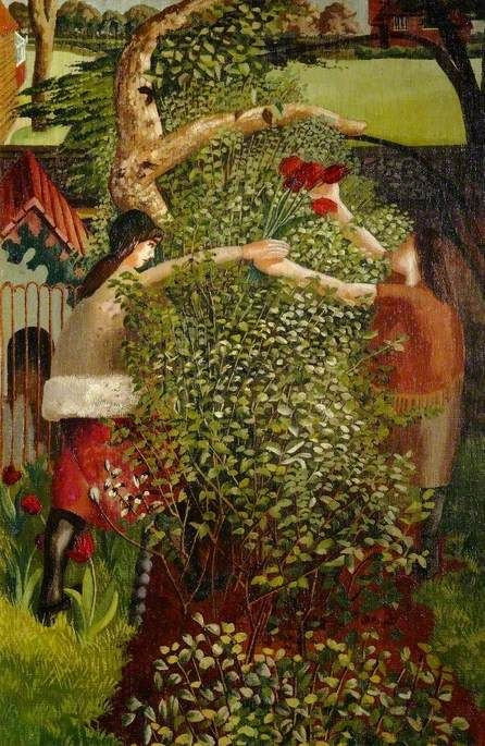 Neighbours  by Stanley Spencer       Date painted: 1936  Oil on canvas, 76 x 51 cm  Collection: Stanley Spencer Gallery