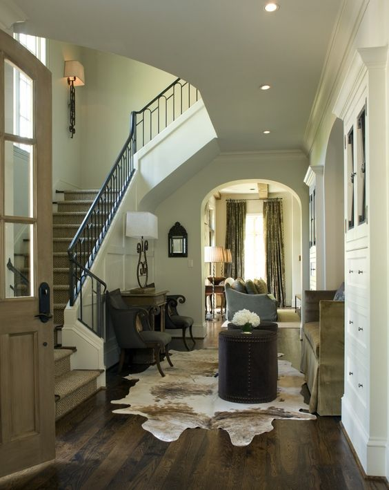 Cowhide rug cow hide rug pinterest foyers rugs and for Entrance foyer rugs