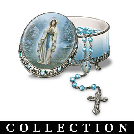 """""""Visions Of Mary"""" Porcelain Musical Rosary Box Collection"""