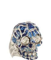 Alexander McQueen Blue Enamel Skull Ring