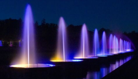 Main Fountain Garden - The Fountains - Beautiful colors at night; the fountains dance to the music.: Gardens July4Th, Gardens Botanical, Beautiful Colors, Gardens 1001, Gardens Pools, Beautiful Gardens, Gardens Fountains, Botanical Gardens