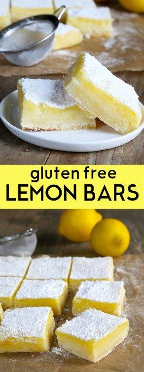 A simple lemony shortbread crust with a tart, refreshing lemon custard, these gluten free lemon bars are so easy to make. Perfect for any potluck! http://glutenfreeonashoestring.com/gf-lemon-bars-for-dad-plain-lemons-for-me/