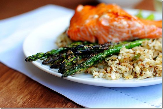 maple-grilled salmon with cauliflower rice
