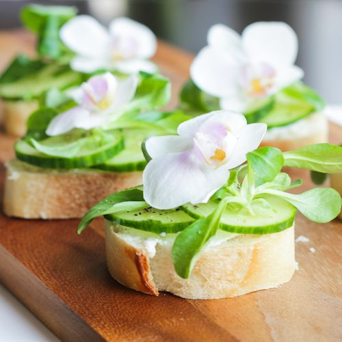 Gluten Free Cucumber Sandwiches with Edible Flowers: