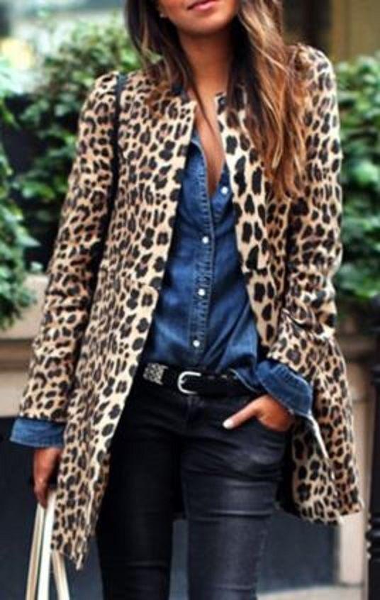 Looks I LOVE! Women's Chic Jewel Neck Leopard Long Sleeve Coat #Leopard Coat #Fall #Fashion
