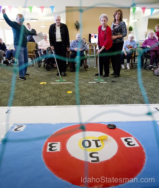 Residents At Grace Assisted Living In Meridian Play A Modified Version Of  Curling As They Hold Their Own Winter Olympics Tuesday Feb. 11, 2014.