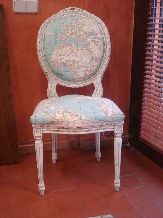 Silla tapizada con tela de mapas muebles originales - Sillas originales ...