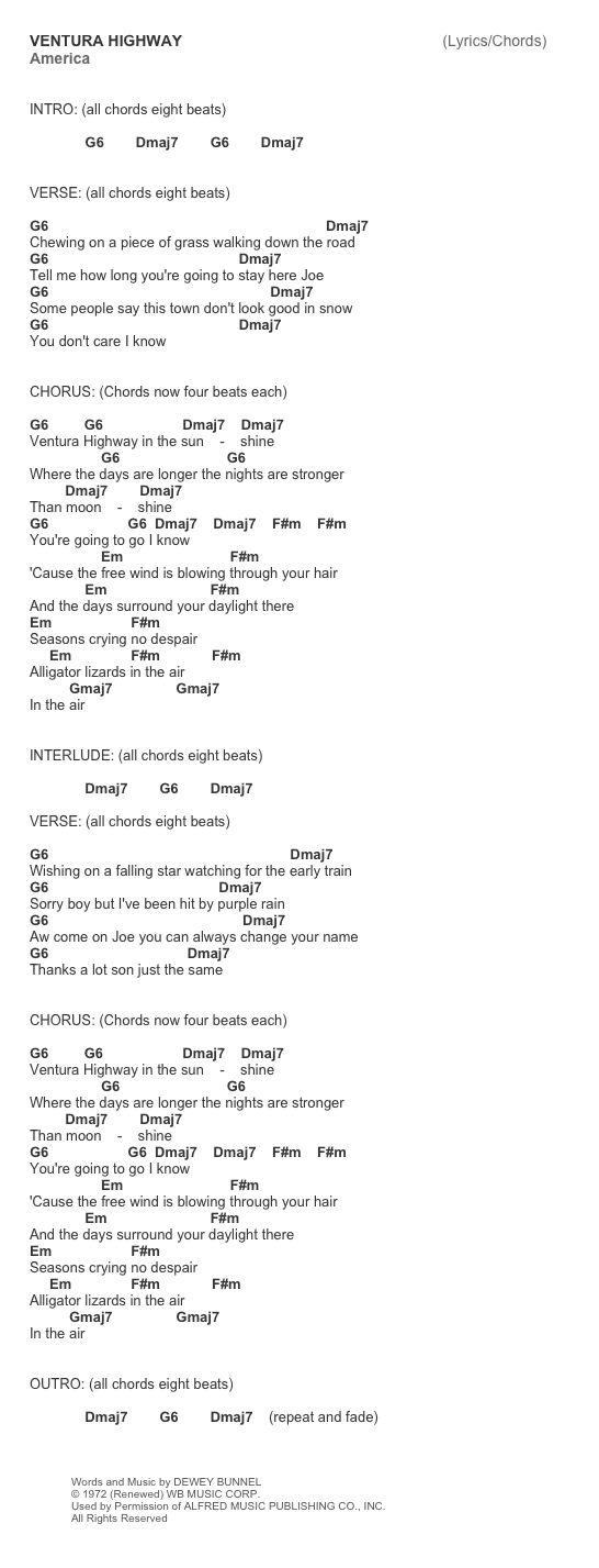 Ventura Highway by America chords and tab lyrics cheat sheet
