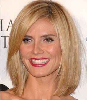 heidi klum long bob with side bang and blonde highlights bob hairstyles pinterest bobs. Black Bedroom Furniture Sets. Home Design Ideas