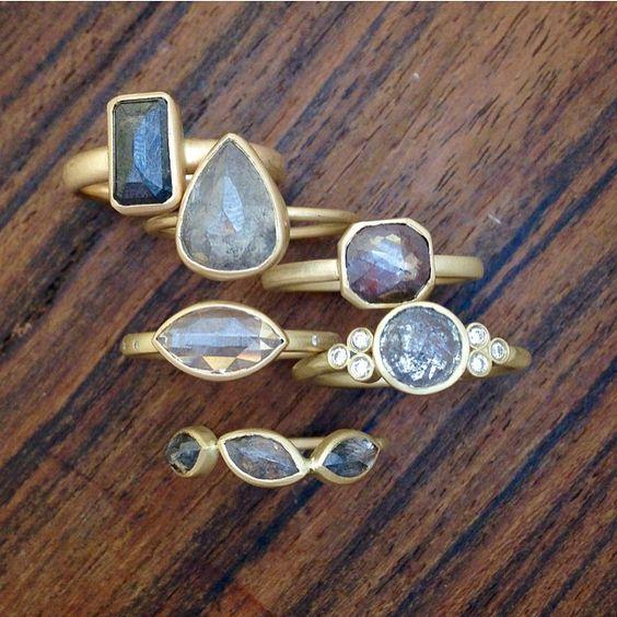 Rose cut diamond #alternativeengagement rings from @rebeccaovermannjewelry #putaringonit #natural #handmade #engagementrings #diamonds #pretty #sparkle