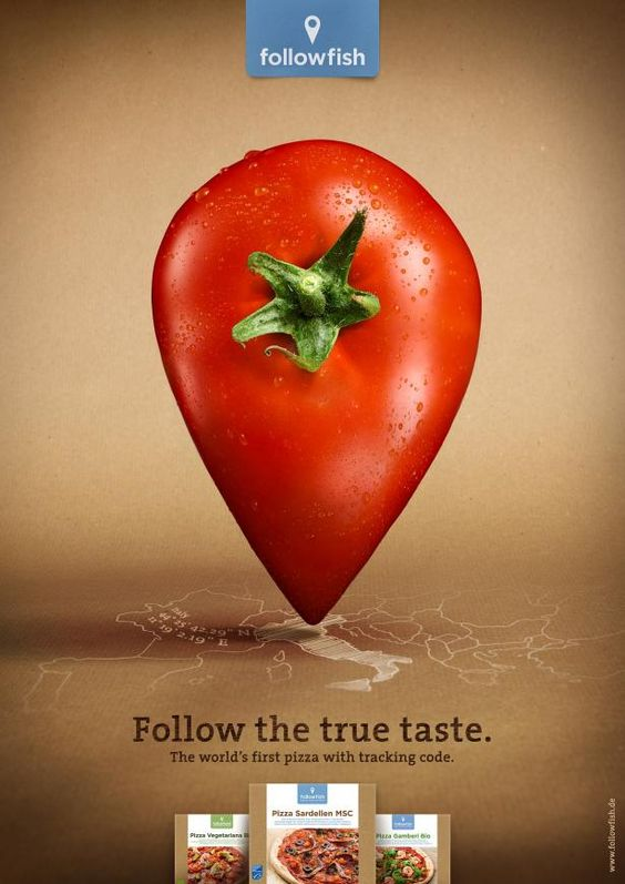 """karenhurley: """" Follow the true taste. The world's first pizza with tracking code. Advertising Agency: Leagas Delaney, Hamburg, Germany Via """""""