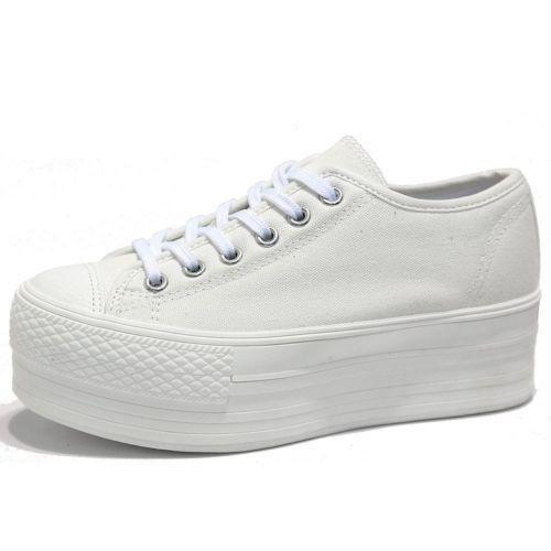 Details about Women's Black White Simple Canvas Platform Sneakers ...