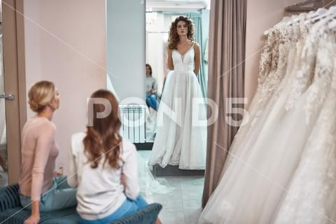 Young Lady Staying In Wedding Salon In Bridal Dress Stock Photos Ad Staying Wedding Young Lady Wedding Salon Bridal Dresses Bridal