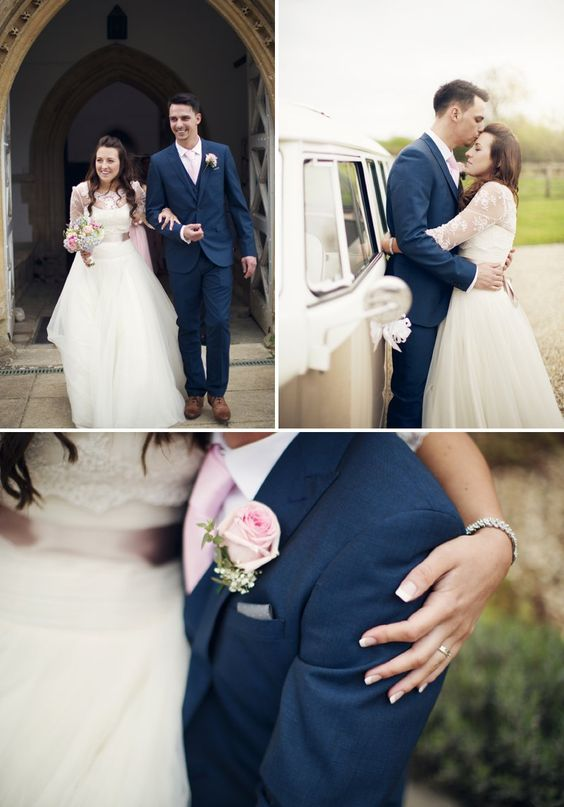 Rustic Wedding At Hyde Barn In Stow On The Wold With A Pale Pink Colour Scheme And Bride In Samantha By Sassi Holford With Bridesmaids In Pale Pink Twobirds Dresses With Groom In Navy Reiss Suit 7 Rustic Vintage Prettiness In Stow On The Wold.