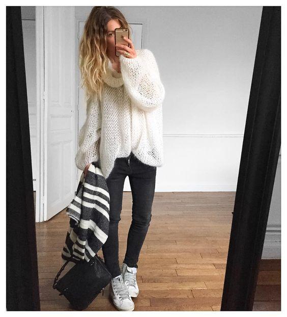 Pull #knitbyme (old) Jean #aninebing foulard #Zara sur @zara sac Igor…:
