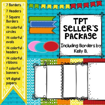 TpT Seller's Package: Full of backgrounds, borders, headers, bunting, and so much more!