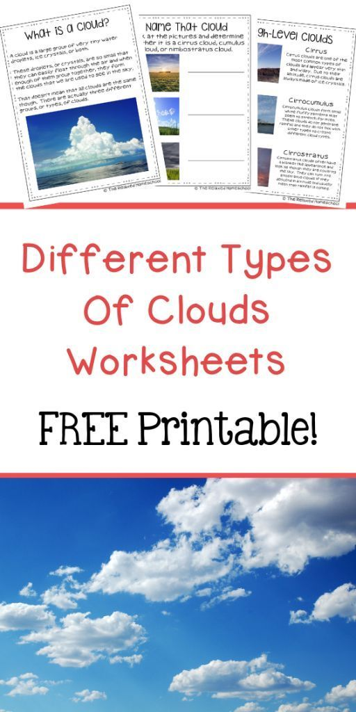 Types Of Clouds Worksheets Printable The Relaxed Homeschool Relaxed Homeschooling Cloud Activities Free Homeschool Printables