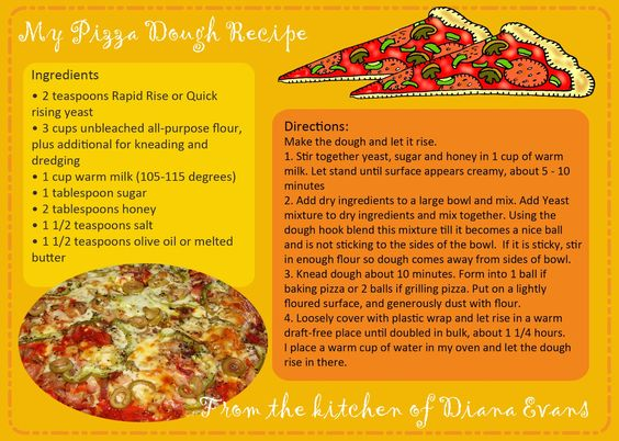 ..updated pizza dough recipe card....and a fun way to use it....