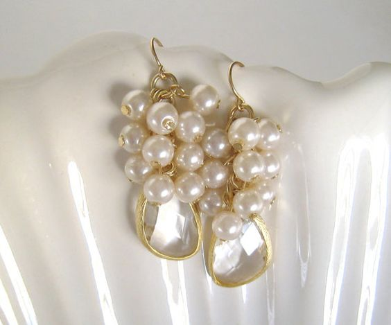 Pearl Earrings Pearl Cluster Earrings Gold by LoveShineBridal, $36.00