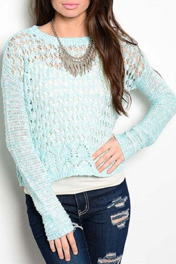 This long sleeve semi sheer sweater features an open knit design and ribbed texture on round neckline.   Turquoise Sweater by Adore Clothes & More. Clothing - Sweaters - Crew & Scoop Neck Washington