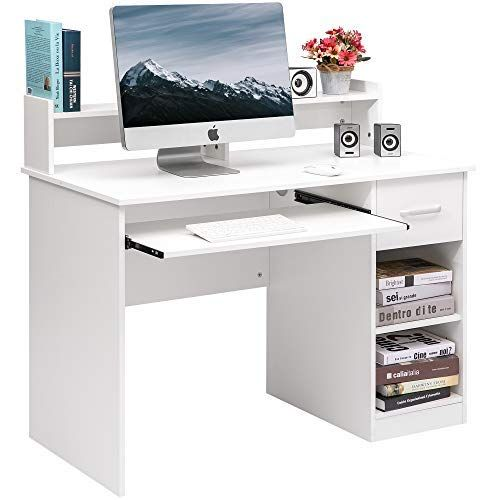 Home Office Computer Desk With Pull Out Keyboard Tray And Drawers