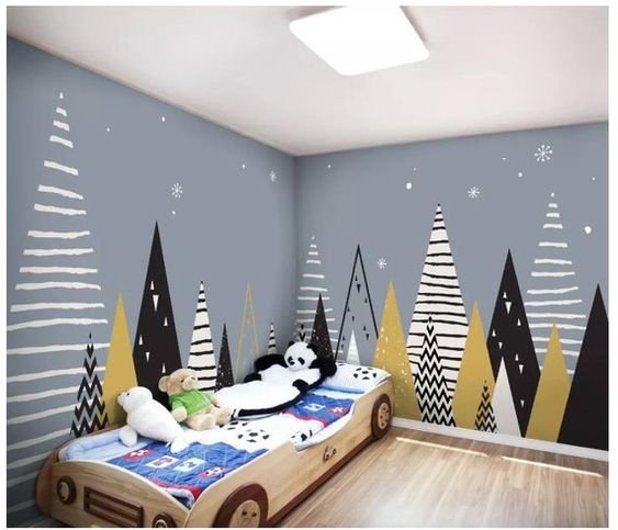 Custom Photo Wallpaper for Walls Murals Cartoon Gray Landscape Geometric Children Background Wall De