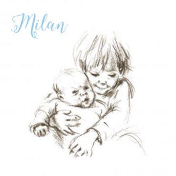 Geboortekaartje pentekening met jongetje en grote broer