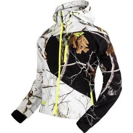FXR Mission Realtree Womens Softshell Hoodie White Snow/Black/Hi-Vis Yellow/Woods Camo  #Realtreecamo