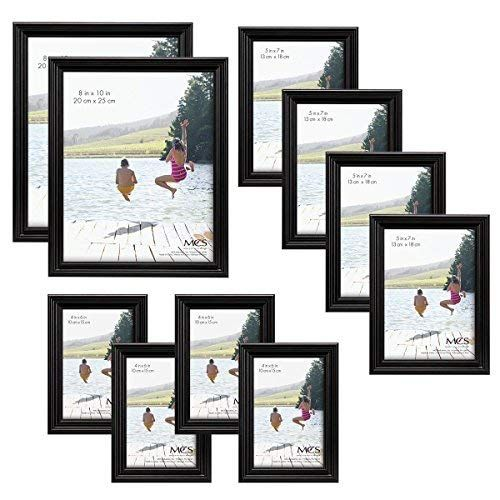Mcs 10pc Multi Pack Picture Frame Value Set Two 8x10 In Four 5x7 In Four 4x6 In Black 65508 Picture Frames Frame Frame Set