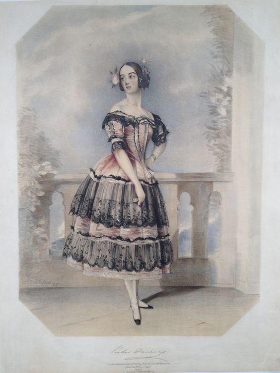 """Pauline DUVERNAY (1813-1894) dans le rôle de """"Florinda"""" pour la Cachucha dans le """"Diable Boiteux"""" - Lithographie colorié de 1837 par John-Frederick LEWIS (1805-1876)"""