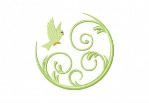 """Bird Flying In Swirl Machine Embroidery Design. 2.5"""" and up .50"""