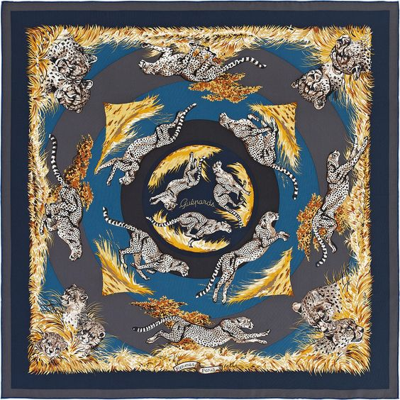""" Guépards "" Hermes silk twill scarf, hand rolled, 90cm Designed by Robert Dallet reissue FW 2013 CW 20 Anthracite/Caban/Taupe"