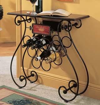 iron wine rack buffet table   Wrought Iron Wine Label Design 9 Bottle Wine Stand with Table