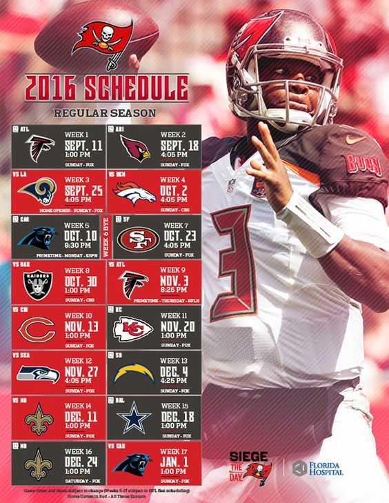 The Bucs' complete schedule for the 2016 season.