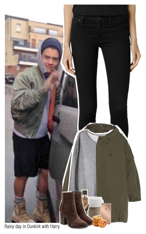 """""""Rainy day in Dunkirk with Harry"""" by sixsensestyles ❤ liked on Polyvore featuring AllSaints, Yves Saint Laurent, H&M, Burberry, rag & bone and Mura"""
