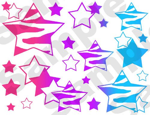 ZEBRA RAINBOW STARS wallpaper border wall decals for teen girls room decor   Bright  vivid. Rainbow Zebra Stars wall border decals decor teen girls abstract