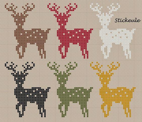 Free deer cross stitch pattern #stitching #animals