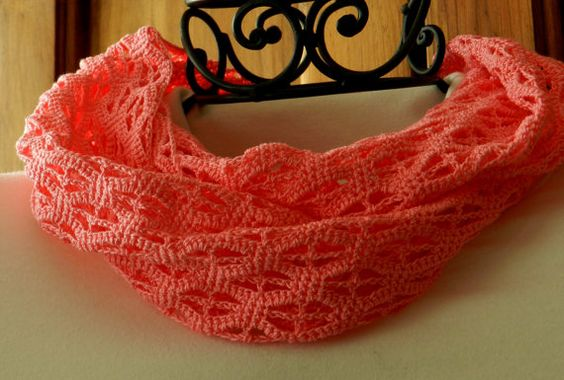 Accessorize even in warmer weather with this bright pink cotton crocheted infinity scarf. This lightweight scarf will brighten up your wardrobe all spring and summer long. #group2020 #getcozy  Infinity Scarf Crocheted Cotton Lightweight Bright Pink by Cozy