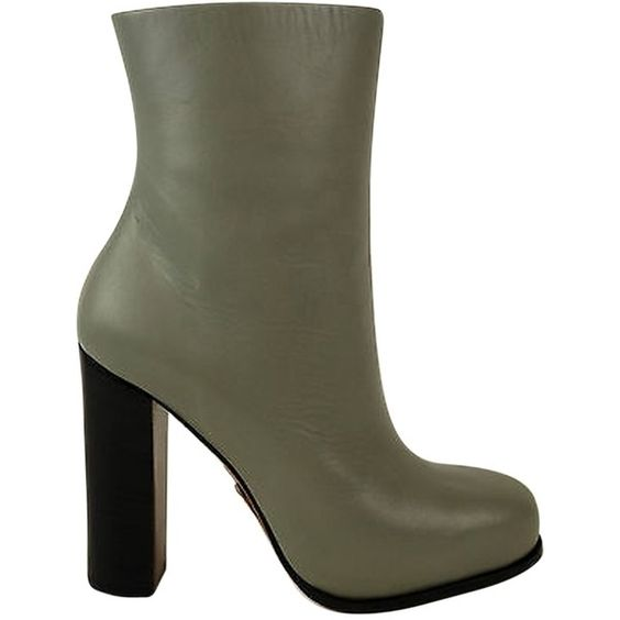 Pre-owned Celine Argile Grey Mid-calf Leather Zip Up Heels Boots Shoes... (555 AUD) ❤ liked on Polyvore featuring shoes, boots, grey, gray boots, grey mid calf boots, grey heel boots, celine boots and leather calf boots