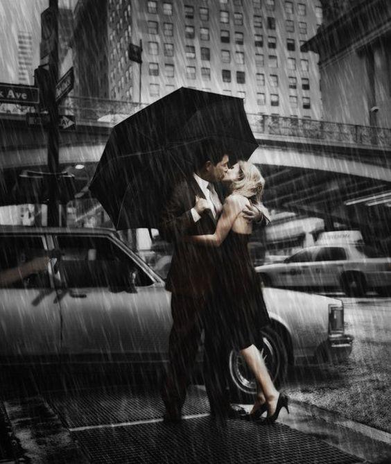 Baiser le parapluie de pluie