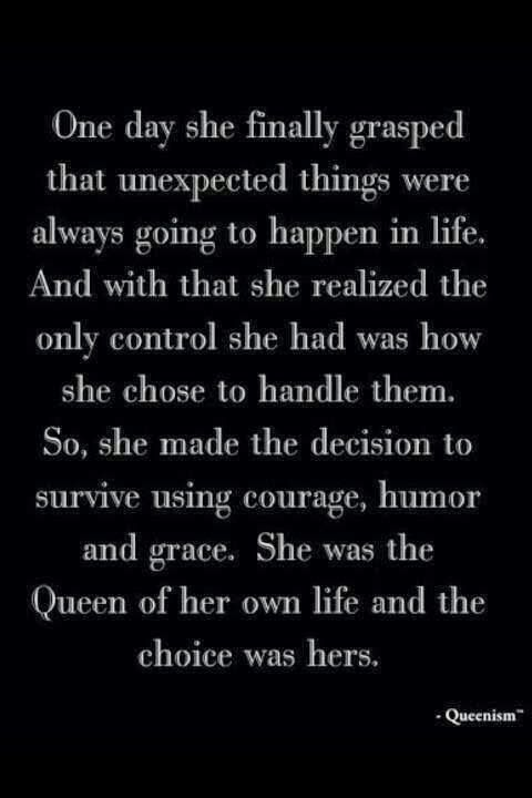 Be the queen of your own life and control how you handle problems.  #inspiration  |  Friday Favorites quote at www.andersonandgrant.com