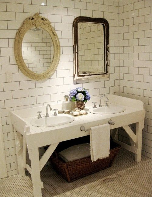 rustic farm table, subway tile, mismatched mirrors bathroom