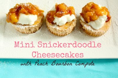 Mini Snickerdoodle Cheesecakes with Peach Bourbon Compote