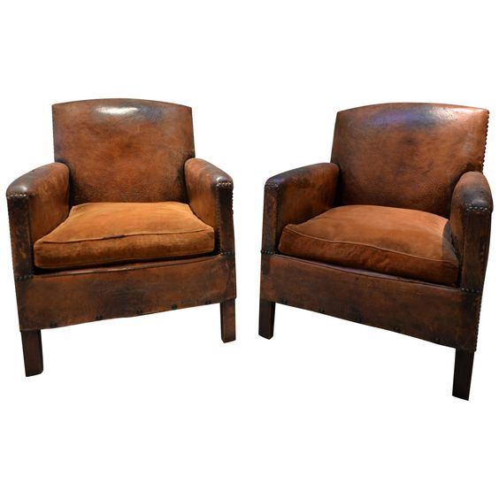 19th Century French Leather Lounge Club Chairs | From a unique collection  of antique and modern - 19th Century French Leather Lounge Club Chair Studios, Bear Art