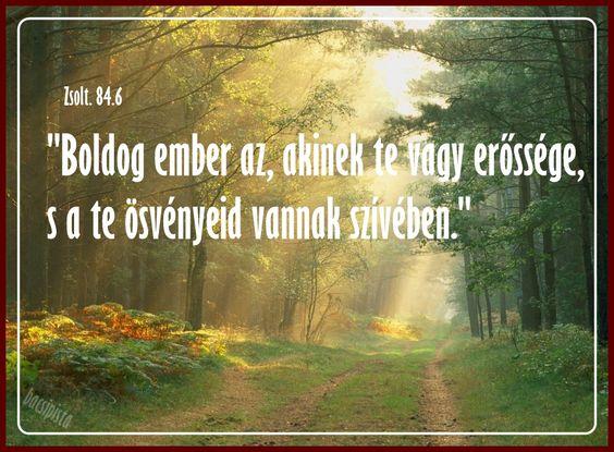 """""""Boldog ember az, akinek te vagy erőssége,  s a te ösvényeid vannak szívében."""" (Zsolt. 84.6)"""