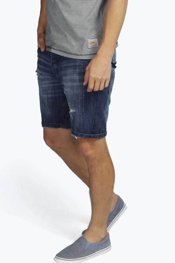 Denim Shorts With Rips blue