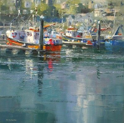 Sunny Afternoon, Newlyn by British Contemporary Artist Rex PRESTON