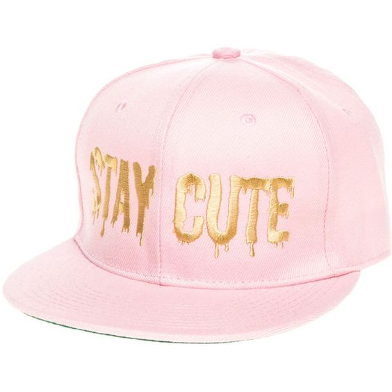 Stay Cute The Color Logo Snapback in Pink (97 SAR) ❤ liked on Polyvore featuring accessories, hats, pink, crown hat, 6 panel hat, logo hats, six panel hat and embroidered hats