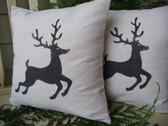 Reindeer Pillow Cover  Christmas Pillow Cover  by AnnadaisyDesigns, $24.00